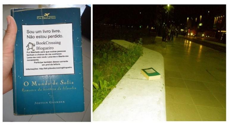 A bookcrosser Susy Christina, libertou O Mundo de Sofia, de J. Gaarder, na calçada da praia.